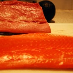 Sushi grade fish awaiting processing