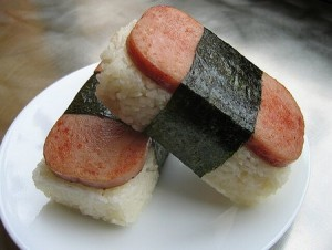 spam musubi 300x226 Spam Sushi? Yes, an upscale NY sushi restaurant is using spam in their sushi menu