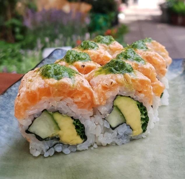 Salmon tartare with shiso salsa verde