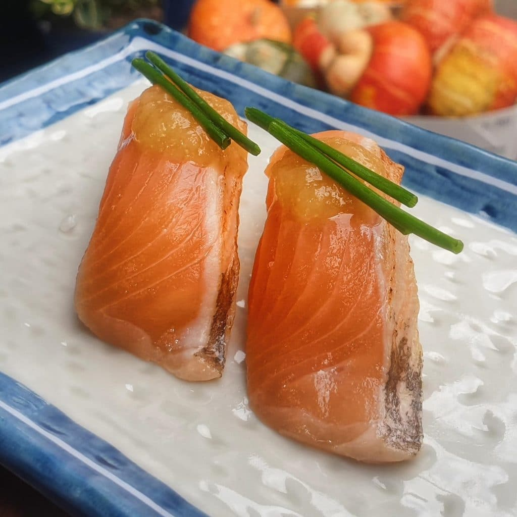Smoked trout with sake-apple compote